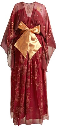 Zandra Rhodes Summer Collection The 1973 Field Of Lilies Gown - Burgundy