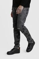 boohoo Mens Black Bleach Washed Skinny Fit Jeans, Black