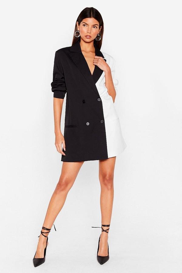 Nasty Gal Womens Two Tone Relaxed Blazer Dress - Black - 4