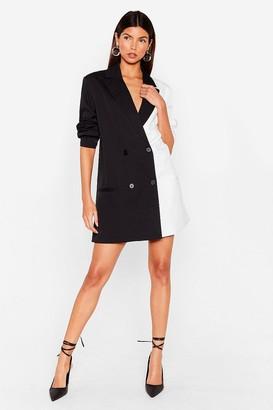 Nasty Gal Womens Half and Half Two-Tone Blazer Dress - Black - 4, Black