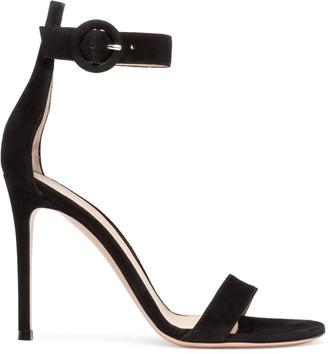 Gianvito Rossi Portofino 105 black suede sandals