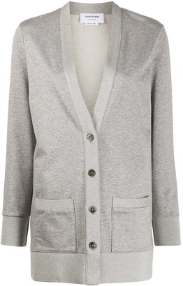 Thom Browne Hip Length V-Neck Cardigan In Light Weight Loopback