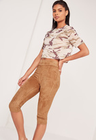 Missguided Cropped Faux Suede Leggings Tan