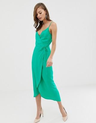 Asos Design DESIGN cami wrap maxi dress-Green