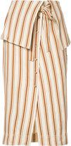 Rosie Assoulin folded waist striped skirt - women - Cotton/Linen/Flax - 0