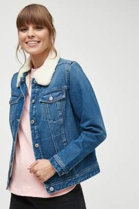 Next Womens Mid Blue Borg Lined Denim Jacket - Blue