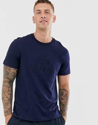 Lacoste large text tonal logo t-shirt in navy