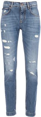 Dolce & Gabbana Embellished Distressed Denim Jeans