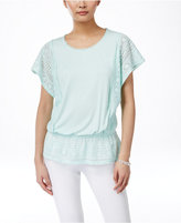 Style&Co. Style & Co Petite Lace-Panel Peplum Top, Only at Macy's