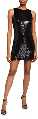 Alice + Olivia Kamryn Sequined Cowl-Back Dress