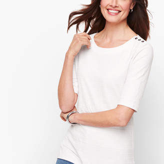 Talbots Button Shoulder Tee - Textured Stripe