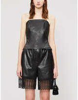 Self-Portrait Self Portrait High-rise relaxed-fit faux-leather bermuda shorts