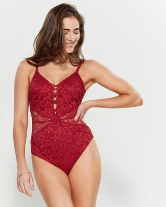 Gottex Lace V-Neck One-Piece Swimsuit