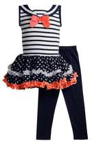 Sweet Heart Rose Sweetheart Rose Baby Girl's Two-Piece Flutter Dress and Leggings Set