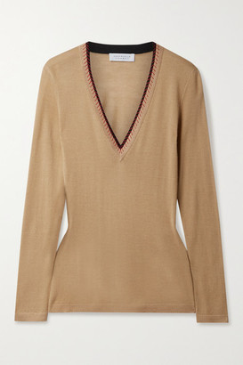 Gabriela Hearst Lorenco Embroidered Cashmere And Silk-blend Sweater - Camel