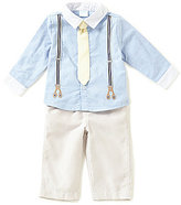Edgehill Collection Baby Boys Newborn-6 Months Chambray Faux-Suspender & Tie Shirt & Striped Pants Set