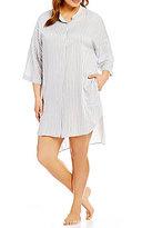 DKNY Plus Striped Boyfriend Sleepshirt