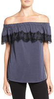 Ella Moss Isabella Lace Trim Off-the-Shoulder Shirt