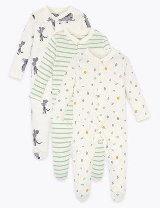 Marks and Spencer 3 Pack Organic Cotton Patterned Sleepsuits (6lbs-3 Yrs)