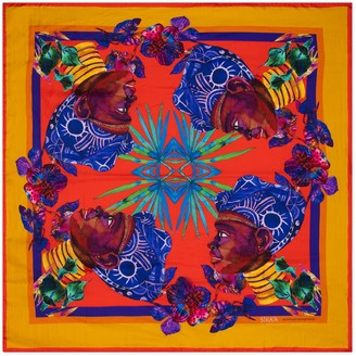 "Sika'a Hand Painted ""Maasai Queen"" Square Silk Scarf"