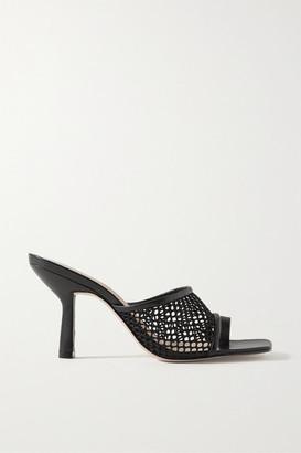 PORTE & PAIRE Leather-trimmed Fishnet Mules - Black