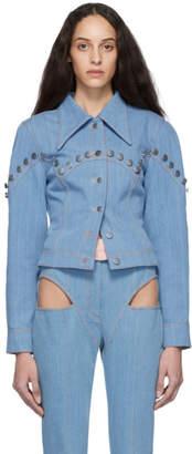 Kreist Blue Denim Studded Round Shoulder Jacket