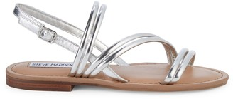 Steve Madden Friso Strappy Metallic Leather Flat Sandals