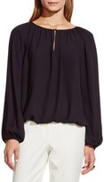 Vince Camuto Shirred Neck Peasant Blouse (Petite)