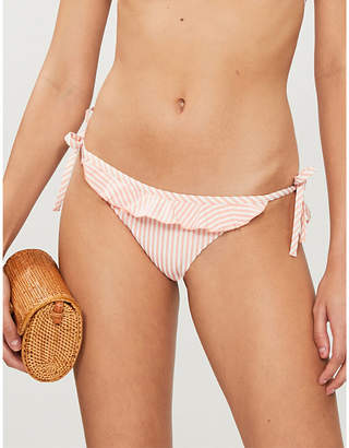 Tommy Hilfiger Side-tie striped seersucker bikini bottoms