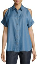 MICHAEL Michael Kors Kaleidoscope Chambray Cold-Shoulder Top