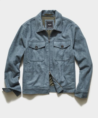 Todd Snyder Italian Boucle Zip Guide Jacket in Blue