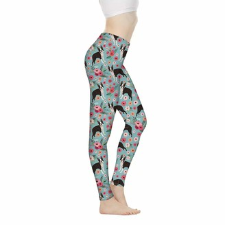 Showudesigns Yoga Pants High Waisted Tummy Control for Women Boston Terrier Floral Print Workout Leggings Activewear Full-Length Skinny Pants