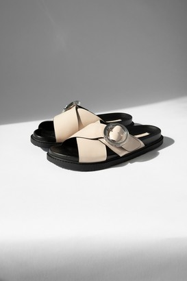 Topshop WIDE FIT PEDRO Stone Footbed Sandals