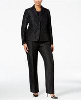 Le Suit Plus Size Three-Piece Two-Button Striped Pantsuit