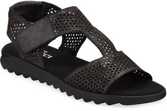 Sesto Meucci Tony Shimmery Leather Comfort Sandals, Black