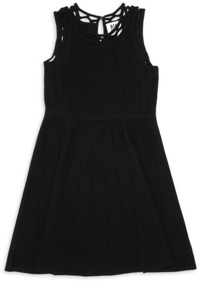 Milly Girl's Lattice-Trim Knit Dress