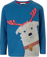 John Lewis Boys' Christmas Dog T-Shirt, Blue