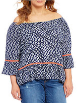 Democracy Plus Off-the-Shoulder 3/4 Blouson Sleeve Peasant Blouse
