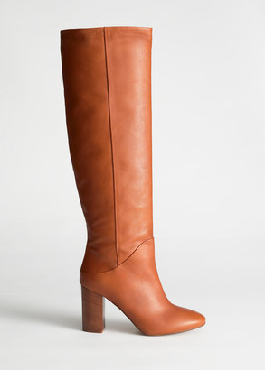 And other stories Chrome Free Tanned Leather Knee High Boots