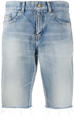 Saint Laurent Frayed-Edge Denim Shorts
