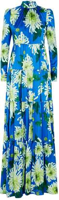 Andrew Gn Silk Floral Print Gown