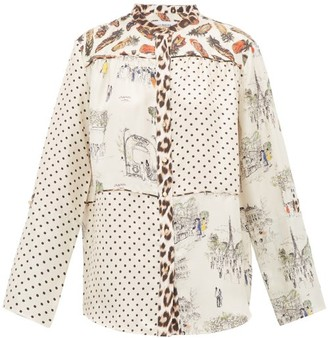 La Prestic Ouiston Cottage Contrast-print Silk Shirt - Womens - White Multi