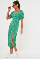 Missguided Green Floral Print Puff Sleeve Midi Dress