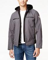 GUESS Men's Detachable-Hood Full-Zip Motorcycle Jacket