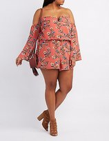 Charlotte Russe Plus Size Floral Notched Off-The-Shoulder Romper