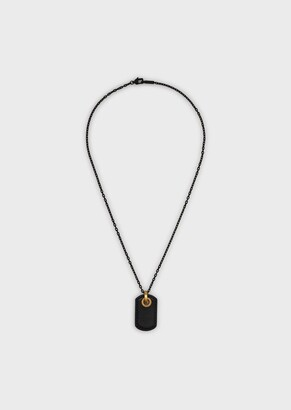 Emporio Armani Stainless Steel Necklace With Logo Tag