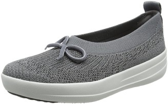 FitFlop Women's Uberknit Slip On Ballerina with Bow Closed Toe Ballet Flats