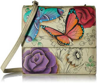 Anna by Anuschka Women's Genuine Leather Small Flap-Over Slim Cross Body | Hand Painted Original Artwork | Floral Paradise