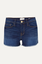 Frame Le Cutoff Frayed Denim Shorts - Mid denim