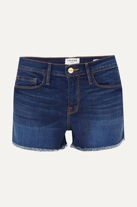 Frame Le Cutoff Frayed Denim Shorts - Mid denim
